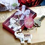 """Spread good luck and cheer with these majestic elephant key chains Want to share wishes of good fortune with family and friends who gather for your big day? Well, this little character makes the perfect messenger! He's beautifully decorated and with his trunk swung up high, he's a good luck charm for the ages! Description and details: Each measures 1.75"""" x 1.5"""" (3.25"""" long with chain) The"""