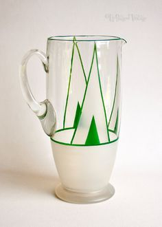Vintage 1930s ART DECO Green Hand Painted Glass Lemonade Jug Pitcher by UpStagedVintage on Etsy