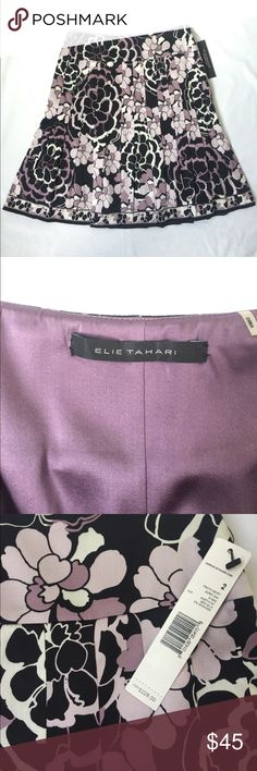 """Elie Tahari Silk Pleated Skirt Size 2 Elie Tahari pleated skirt made with 95% silk and 5% Spandex. Side zipper and fully lined. Waist 14"""" and length 20.5"""". Elie Tahari Skirts"""