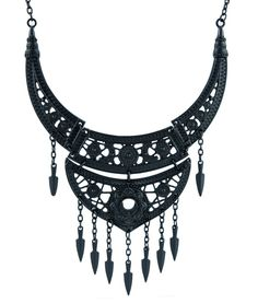 Boho Goth Black Lace Floral Moon Collar Necklace Pendant Oriental designs with floral patterns, moons and openwork geometry. It's made of four connected parts with nine small knifes hanging below. Nec