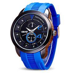 Herren Sportuhr Armbanduhr Quartz Silikon Band Bequem Schwarz Blau Rot Orange Grün Gelb Marinenblau 5698052 2017 – €21.55