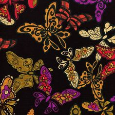 New - Gypsy Chique - Flighty Butterfly - Loralie Design - 1 yard - More Available by BywaterFabric on Etsy