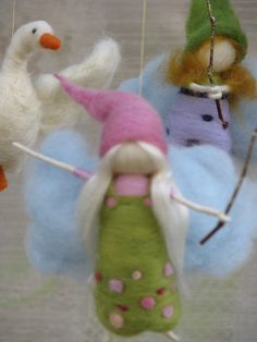 needle felted mobile fairies flying after geese by Made4uByMagic