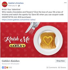 Facebook post I wrote for Gabila's Knishes, while doing copywriting for Napkin Marketing. The campaign won a 2018 Hermes Platinum award in the Social Media category. Saatchi & Saatchi, Copywriter, Love Your Life, Napkin, Hermes, Campaign, Social Media, Marketing, Facebook