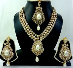 WHITE PEARL CZ GOLD TONE BOLLYWOOD INDIAN BRIDAL NECKLACE JEWELRY SET 4 PCS #REALSPARKLE