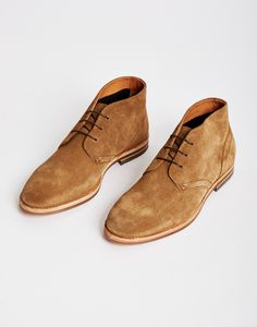 Hudson Houghton Suede Chukka Boot Brown, lace up with a classic fit and a heavy duty sole | Shop men's footwear and clothing at The Idle Man