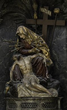 This Pieta with Our Lady of Sorrows is from the former Augustinian church of St Maurice in Fribourg, Switzerland. September is the month of Our Lady of Sorrows. Her feast is on September. Catholic Prayers, Catholic Art, Roman Catholic, Blessed Mother Mary, Blessed Virgin Mary, Religious Images, Religious Art, La Salette, Catholic Pictures