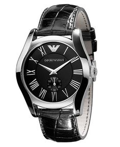 Emporio Armani Watch, Men's Black Croc Embossed Leather Strap AR0643 - Men's Watches - Jewelry & Watches - Macy's