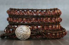crystal leather wrap bracelet  wine burgundy on by CorvusDesign
