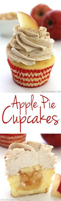 Stuffed Apple Pie Cupcakes with Brown Sugar Cinnamon Icing- super simple cupcake stuffed with apple pie filling and topped with an amazing icing.: