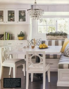 Pindler fabric was been highlighted in the Winter 2014 issue of luxe interiors + design.   Customer SFA Design out of Santa Barbara, Ca. used Pindler fabrics in the kitchen nook on pg. 239.   Patterns Used: Banquette Seat: #2649-Boulevard/Platino (Indoor/Outdoor Hearst Castle) Pillows: #2648-Mudejar/Grey (Indoor/Outdoor Hearst Castle) Chair Seats: #2681-Riviera/White Banquette Pillow: #8704-Hillman/Butter Chair Welt: #8704-Hillman/Greystone Window Treatment: #9827-Maybrook/Snow
