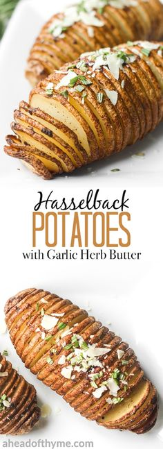Hasselback potatoes with garlic herb butter are perfectly crispy on the outside and tender and buttery on the inside, infused with garlic and rosemary. | aheadofthyme.com via @aheadofthyme