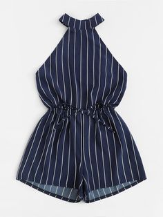 Drawstring Waist Open Back Striped Romper