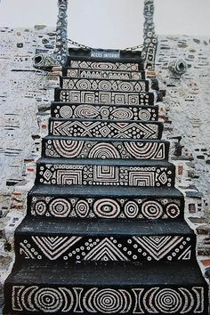 "stairs - -The selection of vanity w/sink, commode and these stairs are special to me because they look like they could have made of African-mudcloth. I would have to track all of this down, if I had money. ""WITHOUT MONEY WE'D ALL BE RICH-quoteth a pin I have."