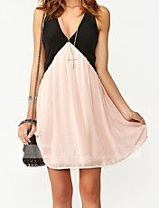 Women's Contrast Color Deep V Neck Sexy Dress – USD $ 16.19