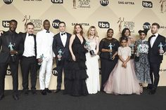 The Cast of 'Hidden Figures', winners of the Outstanding Performance by a Cast in a Motion Picture award, pose in the press room during The 23rd Annual Screen Actors Guild Awards at The Shrine Auditorium on January 29, 2017 in Los Angeles, California.