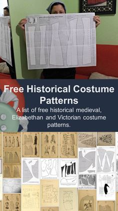 A list of free historical medieval, Elizabethan and Victorian costume patterns. … A list of free historical medieval, Elizabethan and Victorian costume patterns. Video Game Costumes, Boy Costumes, Period Costumes, Halloween Costumes, Historical Costume, Historical Clothing, Vintage Sewing Patterns, Clothing Patterns, Doll Sewing Patterns