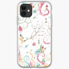A unique floral print of a whimsical village in spring. Background S, Whimsical Art, Ipad Case, Floral Prints, Iphone Cases, Spring, Unique, Artist, Floral Patterns