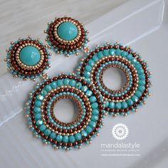 Turquoise hoop earrings by MandalaStyle on Etsy