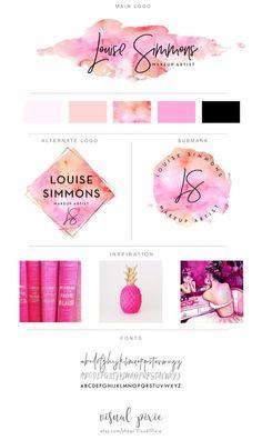 Branding package - photography logo makeup artist logo - orange pink watercolor logo event planner l Design Blog, Web Design, Fashion Logo Design, Design Ideas, Design Art, Fashion Logos, Brand Design, Design Model, Design Elements