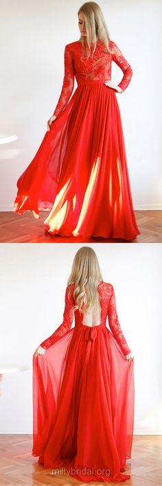 Red Prom Dresses, Long Sleeve Prom Dresses, Lace Party Dresses, Scoop Neck Chiffon Formal Dresses, Women Evening Dresses, Girls Prom Dresses