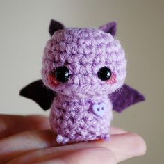 Mini Amigurumi Purple Bat.... Oh my gosh this little guy is adorable AND my favorite color too. I wonder if there's a pattern of it on Etsy fpr sale.