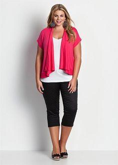Fashion Plus Size - Large Size Womens Clothes, Tops & Dresses | Fashionable Plus Size Clothes - POLKA DOT CROP PANT - Virtu