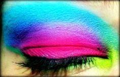 Neon rainbow bright eye make up #makeup #eyeshadow