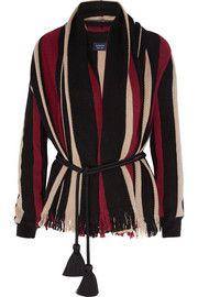 Cardigan en laine à rayures et franges