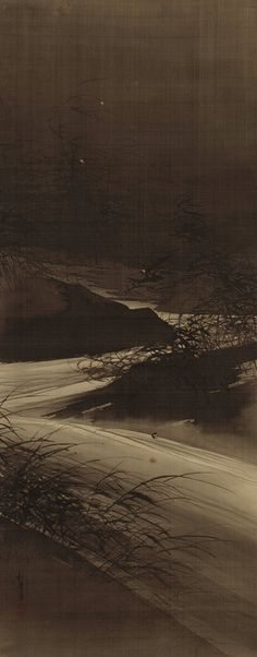 Fireflies over the Uji River by Moonlight, Meiji period (1868–1912)    Suzuki Shonen    (Japanese, 1849–1918)Hanging scroll; ink, gold, and color on silk
