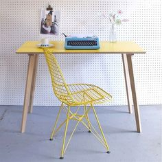 Yellow Formica Plywood Desk / Plywood Table / Office Desk / Small Table/ Yellow Table / Formica Table / Birch Plywood Furniture - Pin to Pin Table Office, Table Desk, Desk Chair, Desk Setup, Home Office Inspiration, Interior Inspiration, Colour Inspiration, Table Formica, Poltrona Design