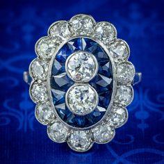 Sapphire Diamond, Sapphire Rings, All Gems, European Cut Diamonds, Cluster Ring, Antique Rings, Diamond Cuts, Art Deco, Engagement Rings