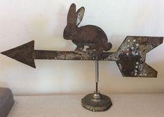 Vintage Folk Art Rabbit Weathervane Arrow