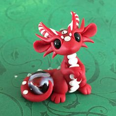Red Christmas Dragon by DragonsAndBeasties on Etsy Polymer Clay Dragon, Sculpey Clay, Polymer Clay Animals, Cute Polymer Clay, Polymer Clay Dolls, Cute Clay, Polymer Clay Crafts, Cool Paper Crafts, Fun Crafts For Kids