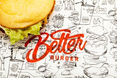 Brushlettering on food packaging for Better Burger brand identity design on TypeRiot Menu Design, Food Design, Branding Design, Design Design, Design Trends, Restaurant Identity, Menu Restaurant, Burger World, Crea Design