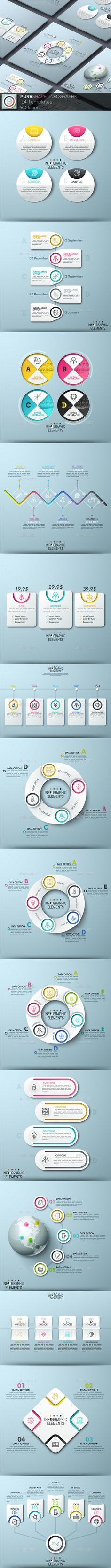 Set 9 by Andrew_Kras Pure Shape Infographic Pack 9 includes 14 templates in futuristic cut style and 60 icons pack in modern colorful style. Infographic Resume, Infographics Design, Strategy Map, Powerpoint Slide Designs, Web Design, Concert Flyer, Data Visualization, Presentation Templates, Business Cards
