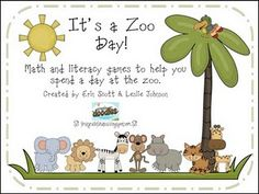 Zoo mini-unit with math and literacy games