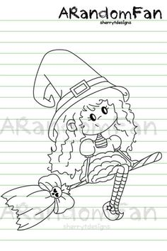 Digital Stamps- Arie the Witch