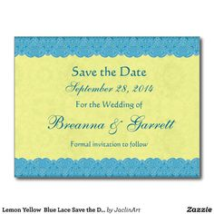 #Lemon #Yellow #BlueLace #SavetheDate #Wedding #Postcard http://www.zazzle.com/lemon_yellow_blue_lace_save_the_date_wedding_v07_postcard-239666393594193766