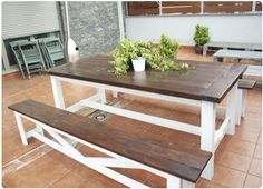 DIY picnic table - love how the benches are unattached & the mix of dark stain with white wood