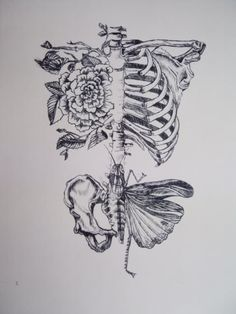 Skeleton body butterfly flower!! Perty!! Could totally turn this into a full body tattoo.