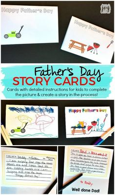 "A unique twist on a homemade Father's Day card: Father's Day Story Cards! These themed ""finishable"" story cards have the beginnings of a picture scene and include instructions and lines for kids to create and record their story creation! #fathersday #fathersdaycard #giftsfordad #kidmadeart #kidart"