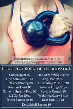 Fitness Motivation : Illustration Description The only kettlebell workout you'll ever need! A total body ultimate workout – build strength and blast calories! Circuit Kettlebell, Kettlebell Challenge, Kettlebell Training, Kettlebell Swings, Kettlebell Routines, Kettlebell Benefits, Kettlebell Class, Full Body Kettlebell Workout, Kettlebell Deadlift