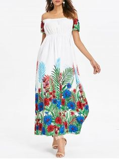 DressLily / Off Shoulder Tropical Maxi Dress White Maxi Dresses, Cute Dresses, Off Shoulder Long Dress, Flannel Dress, Tulip Dress, Asymmetrical Dress, Casual Dresses For Women, Ideias Fashion, Fashion Site