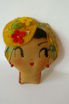 Lady with Sun Hat Brooch. Wearable Art or Decorative by CuriousPip