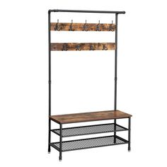VASAGLE Industrial Coat Rack Storage Bench, Pipe Style Hall Tree with 9 Hooks, Multifunctional Sturdy Iron Frame Large Size Coat And Shoe Rack, Coat Rack With Storage, Hat And Coat Stand, Coat Stands, Industrial Storage Racks, Bench With Shoe Storage, Storage Baskets, Storage Benches, Rustic Industrial