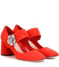 Red embellished suede pumps