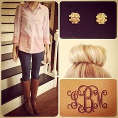 @J.Crew button down & jeans. @Victoria Brown Brown Brown McCoy Burch stud earrings and riding boots. Medema Lilly monogram clutch. #JCRew #ToryBurch