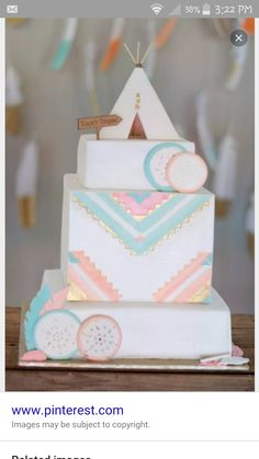 Literally obsessed with this cake Bday Girl, Baby Birthday, First Birthday Parties, First Birthdays, Birthday Ideas, Birthday Cakes, Pow Wow Party, Tribal Baby Shower, Baby Shower Cakes