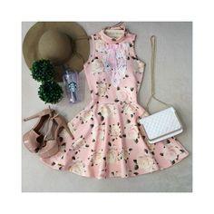 Vestido Lalá Gola Alta D/ em renda e laço(  ESTAMPA ROSAS/FUNDO ROSA) - Melrose Brasil